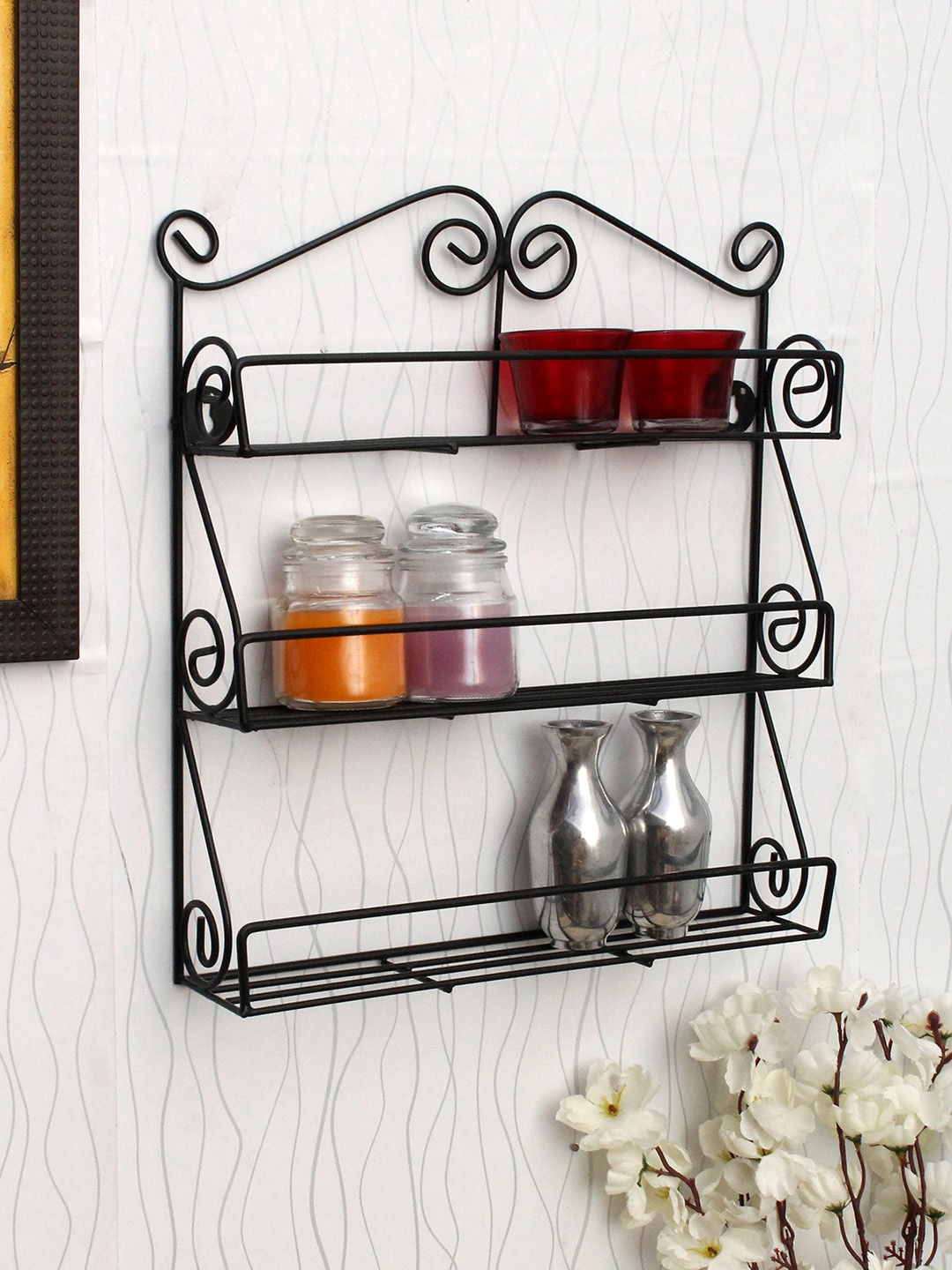Home Sparkle Black Iron Basic Wall Shelf