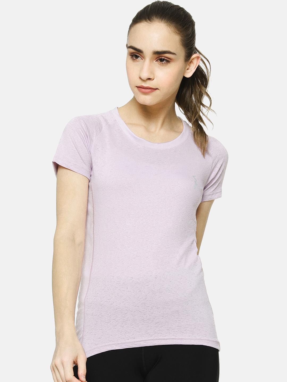 Campus Sutra Women Lavender Solid Round Neck T shirt