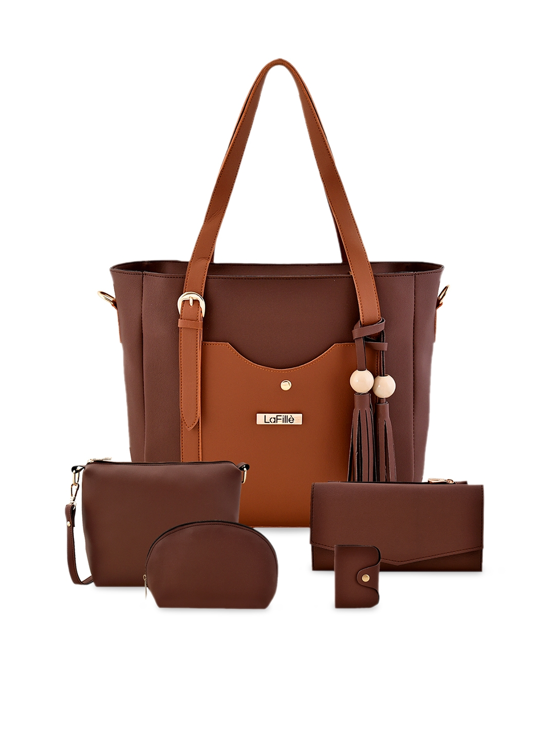 LaFille Set of 5 Brown Solid Bags