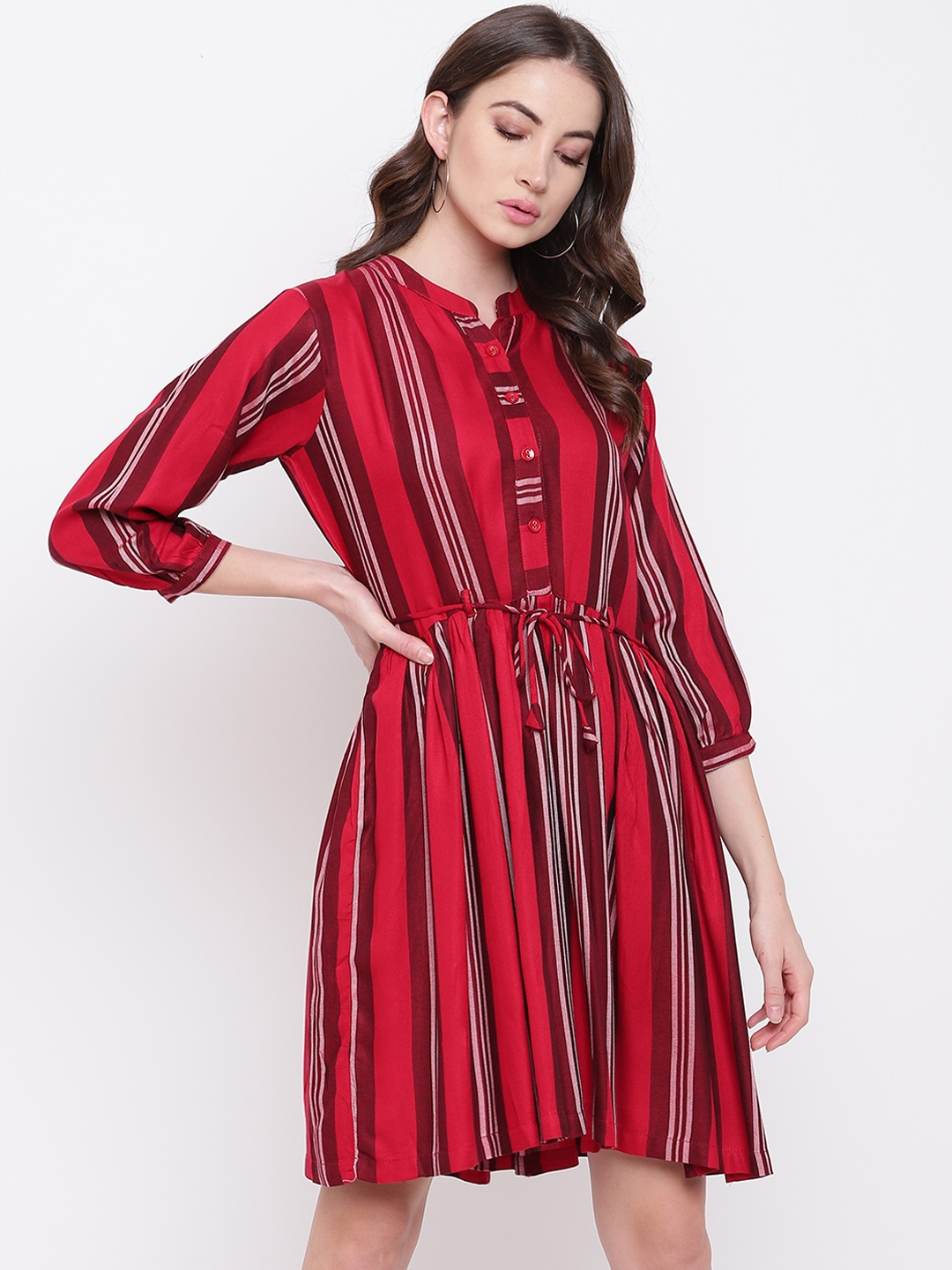 M   S FASHION Women Maroon Striped Fit and Flare Dress