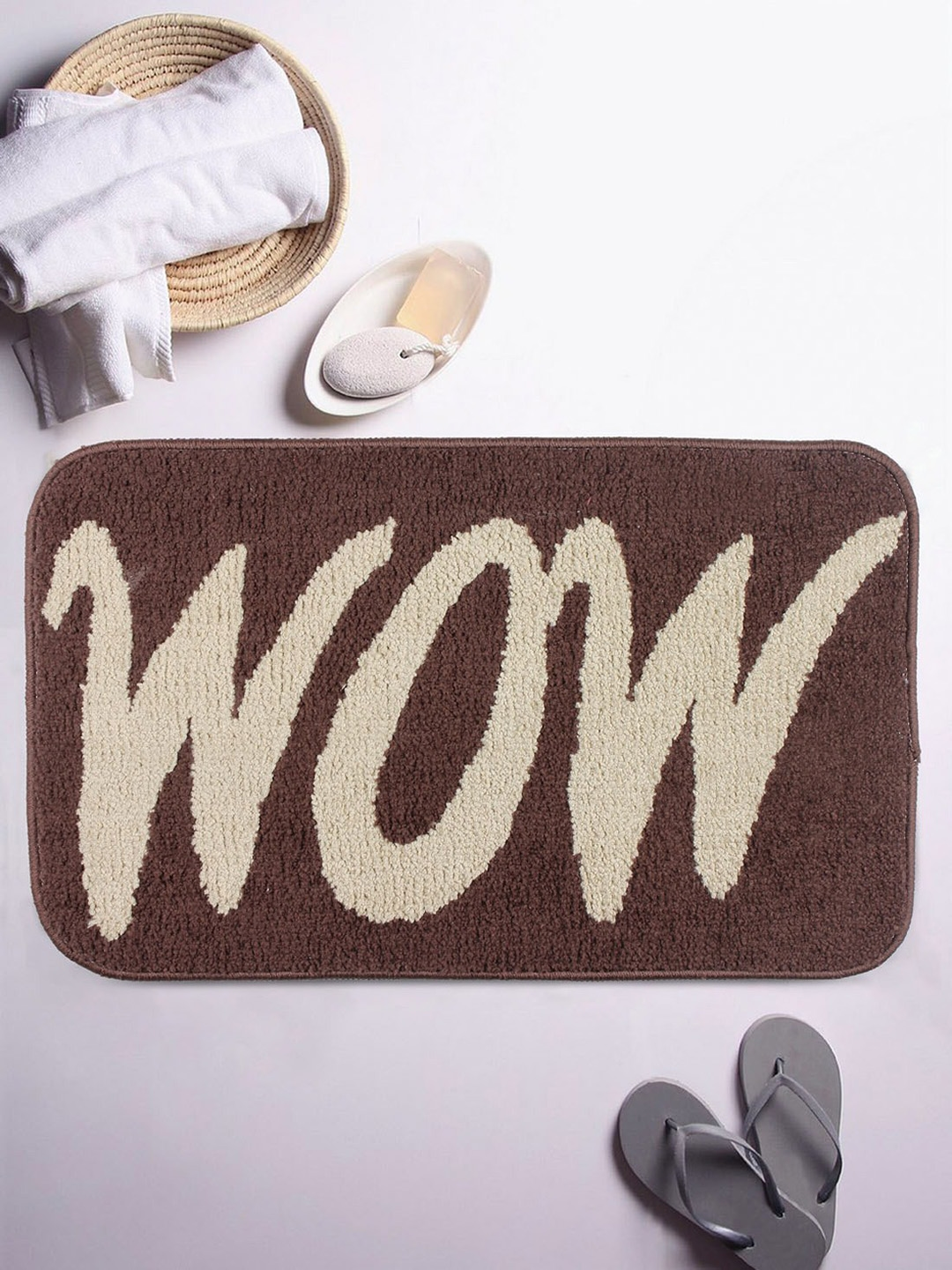 ROMEE Brown   Beige Printed Cotton Bath Mat