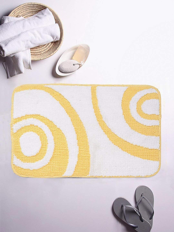 ROMEE White   Yellow Printed Microfiber Bath Mat