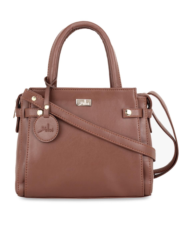 yelloe Tan Brown Solid Handheld Bag