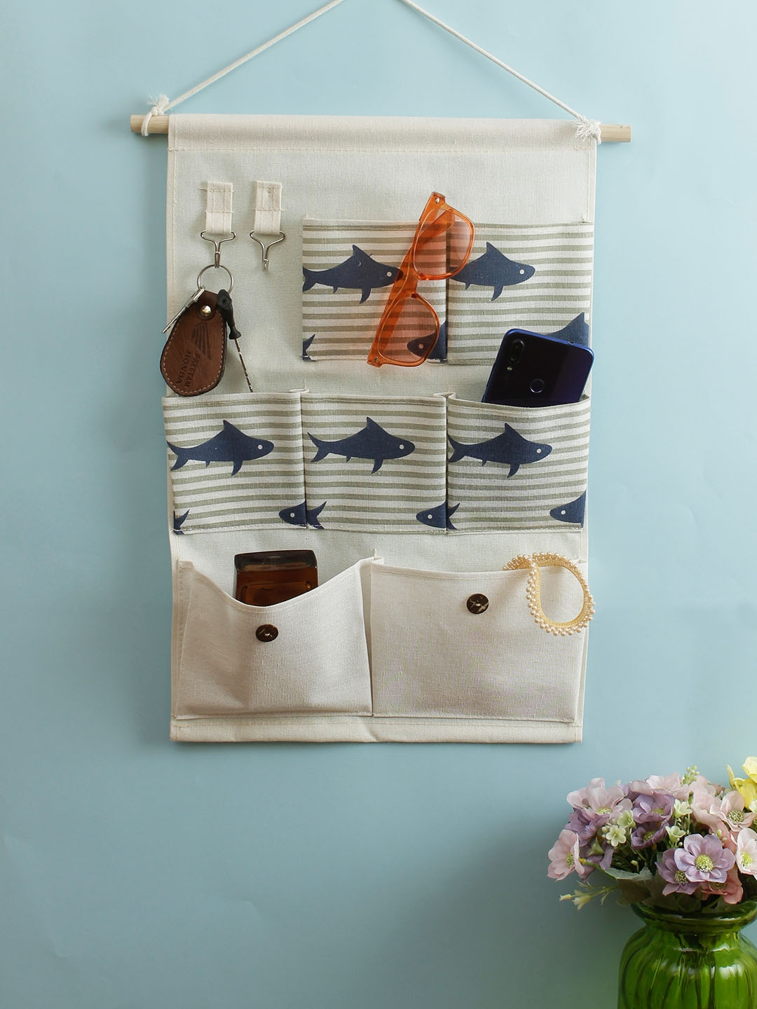 Cortina White   Blue Striped Multi Utility Wall Hanging Organiser