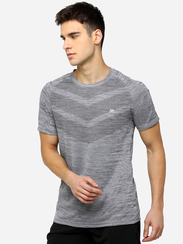 Maniac Men Grey Self Design Round Neck T shirt
