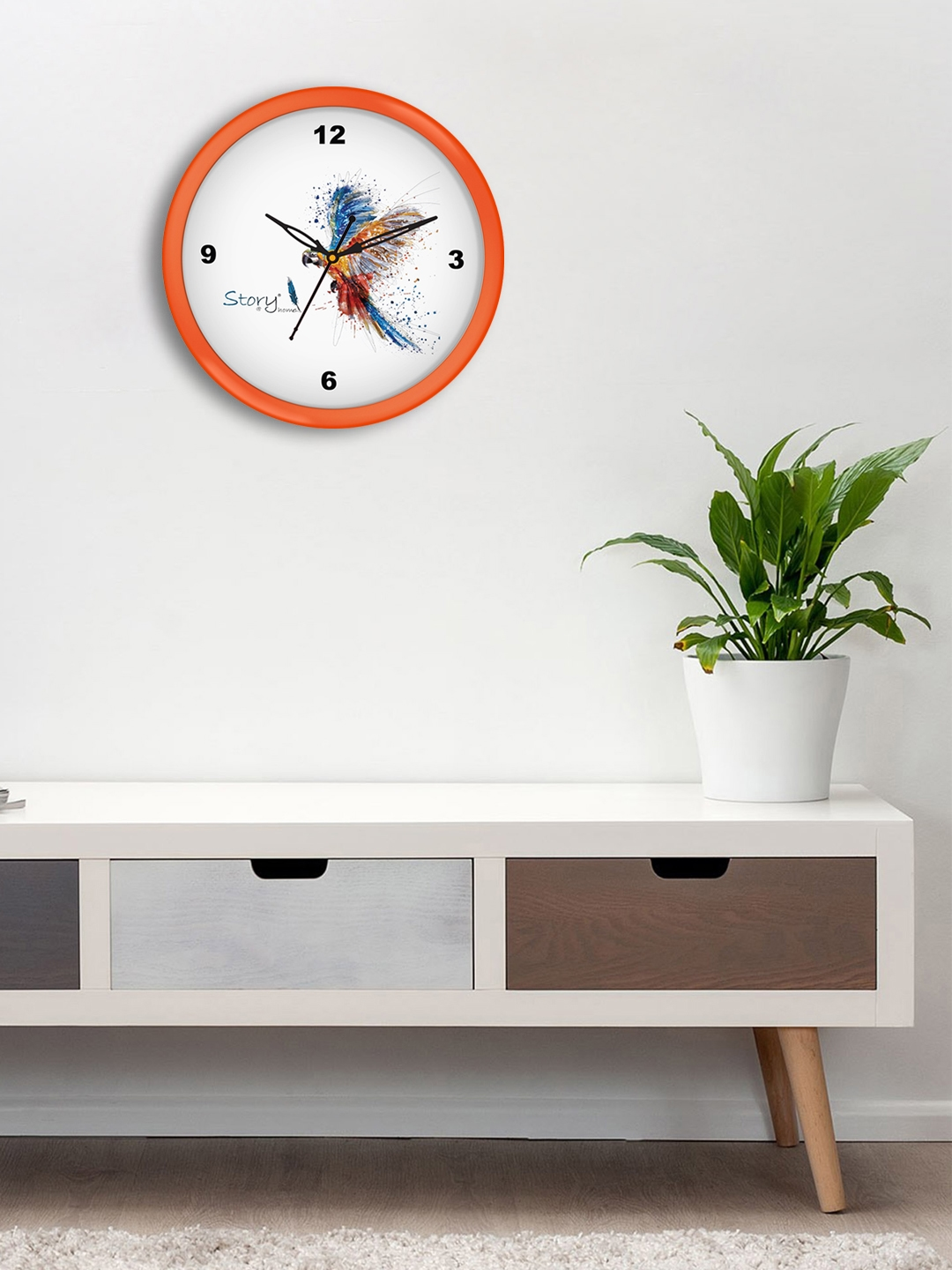 Story@home Orange   White Round Printed Analogue Wall Clock 25 cm
