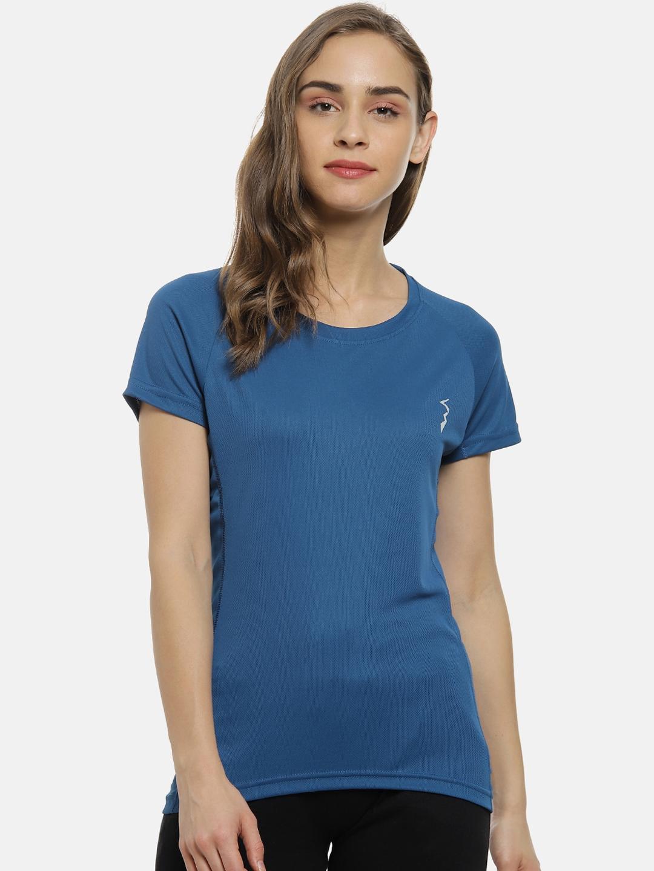Campus Sutra Women Blue Solid Round Neck T shirt