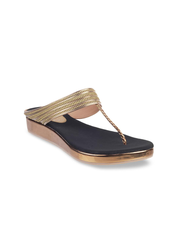 WALKWAY Women Gold Toned Textured Comfort Heel