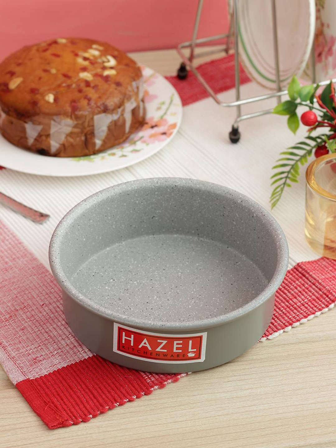 HAZEL Grey Heavy Gauge Aluminium Granite Finish Non Stick Microwave Safe Small Round Cake Mould
