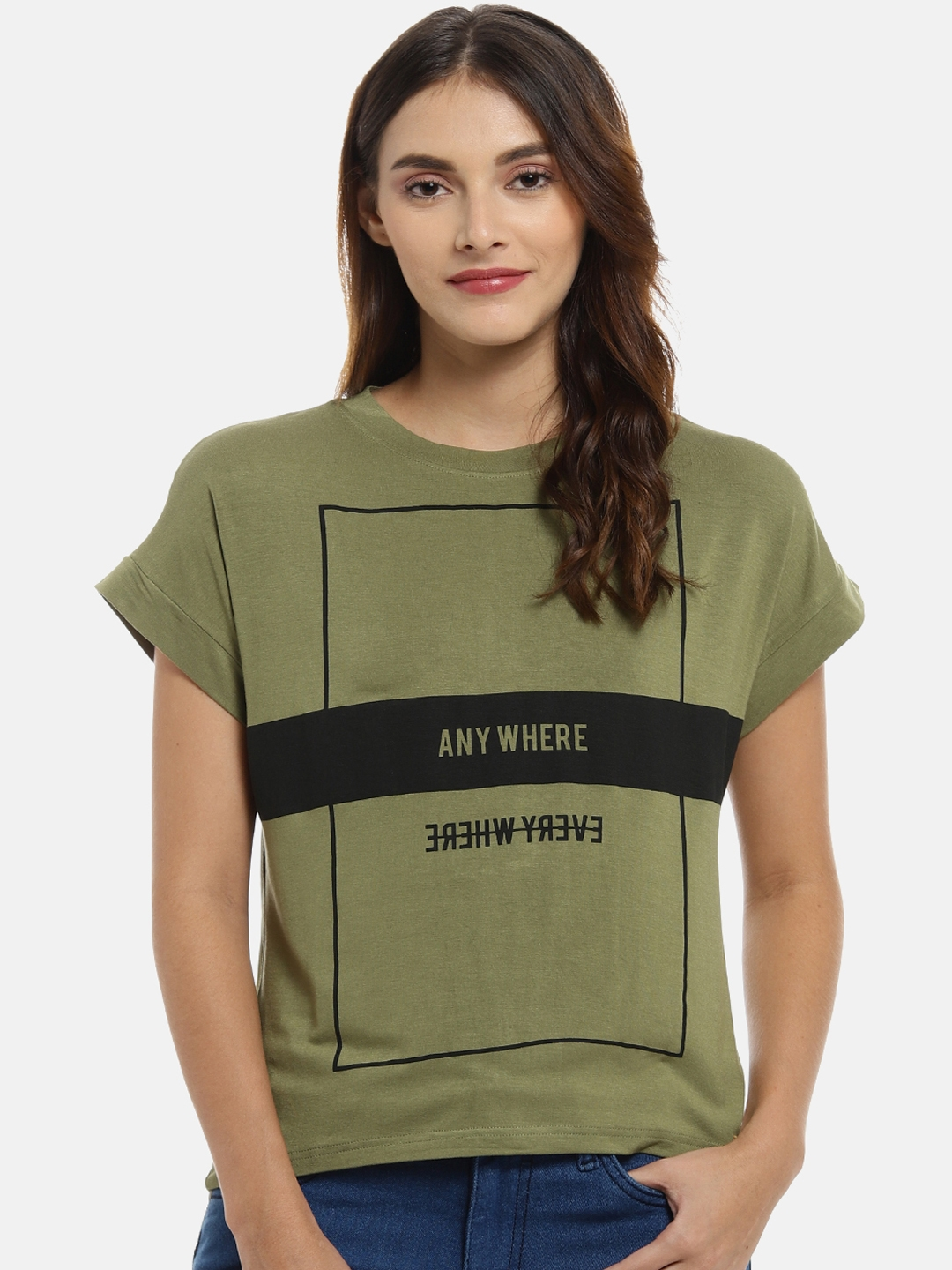 Campus Sutra Women Olive Green Printed Top