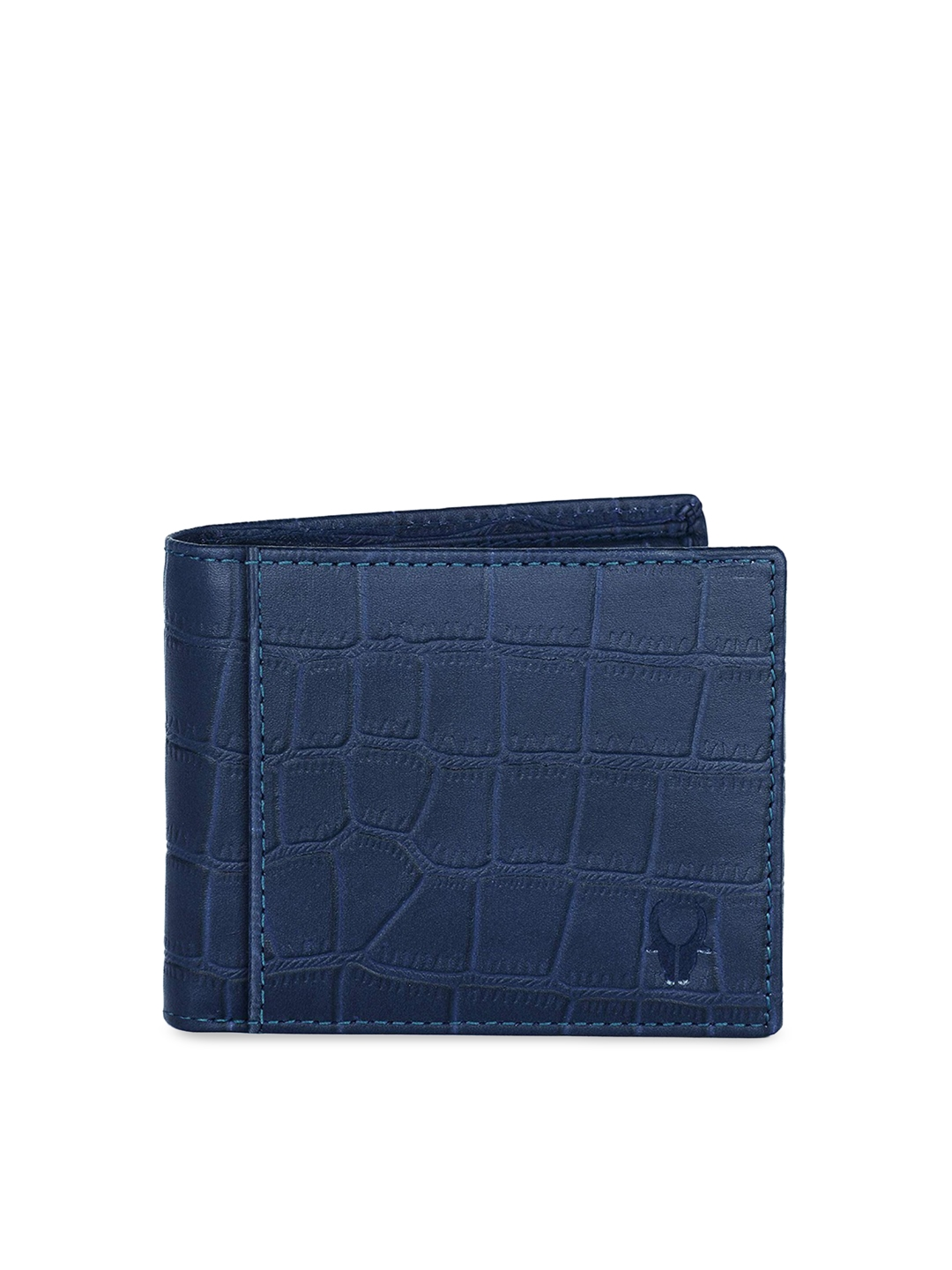 WildHorn Men Blue Textured RFID Protected Leather Two Fold Wallet
