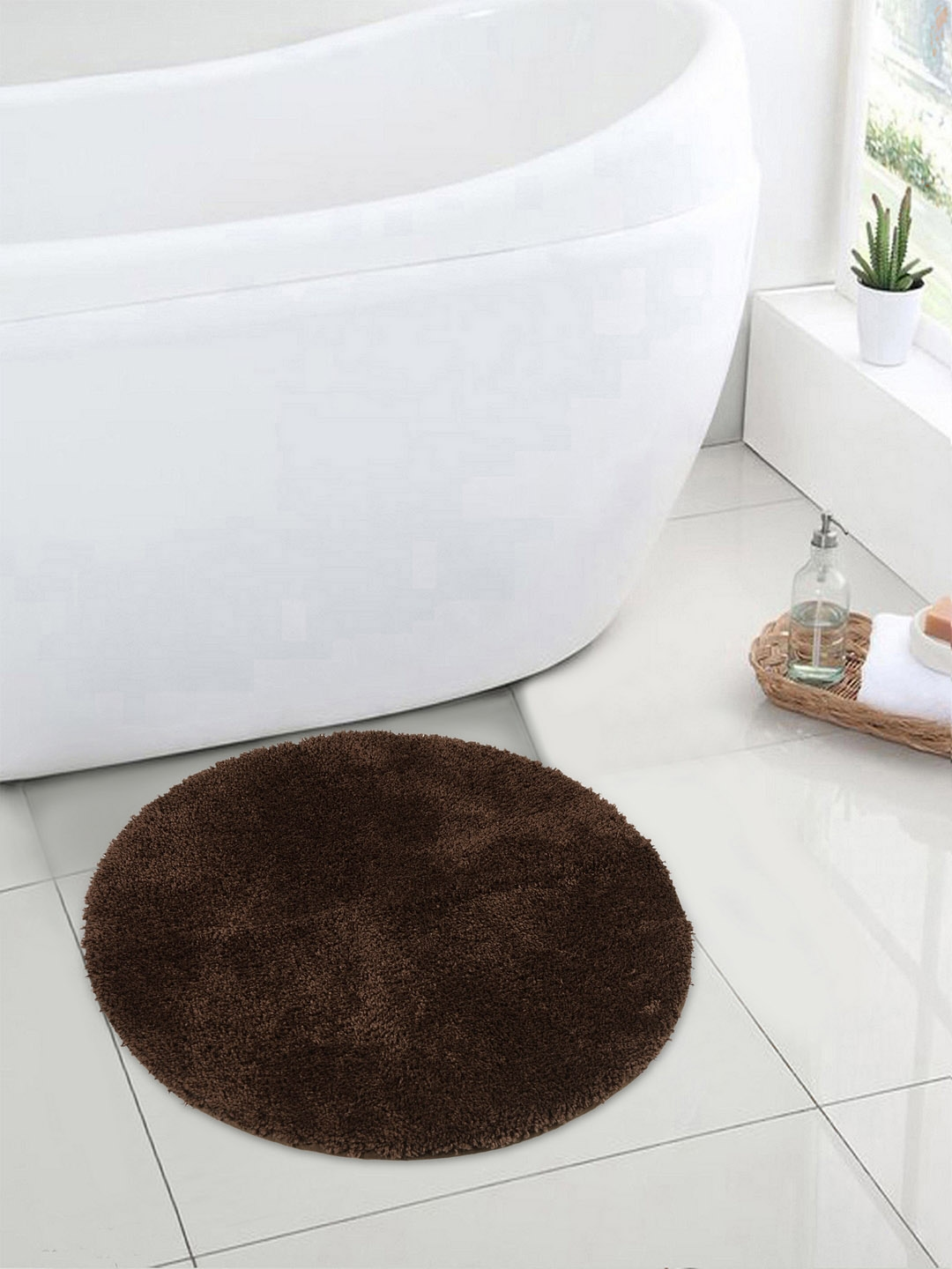 SPACES Brown Solid Luxury Cushlon Chocolate Small Bath Mat