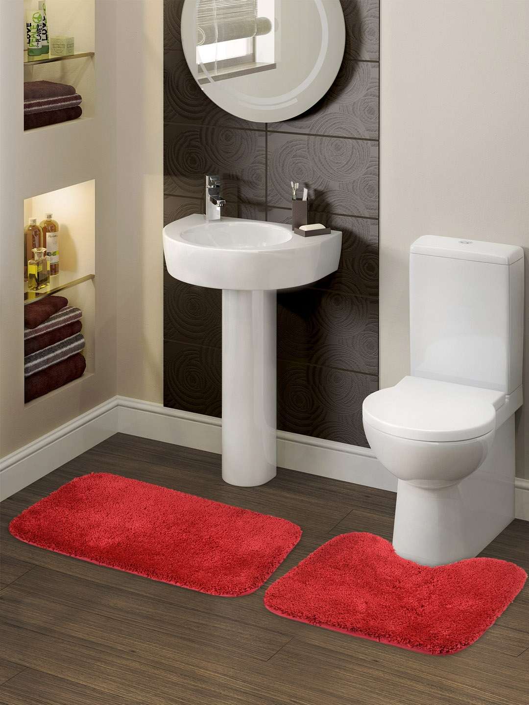 SPACES Set Of 2 Red Solid Luxury Small Bath Mats