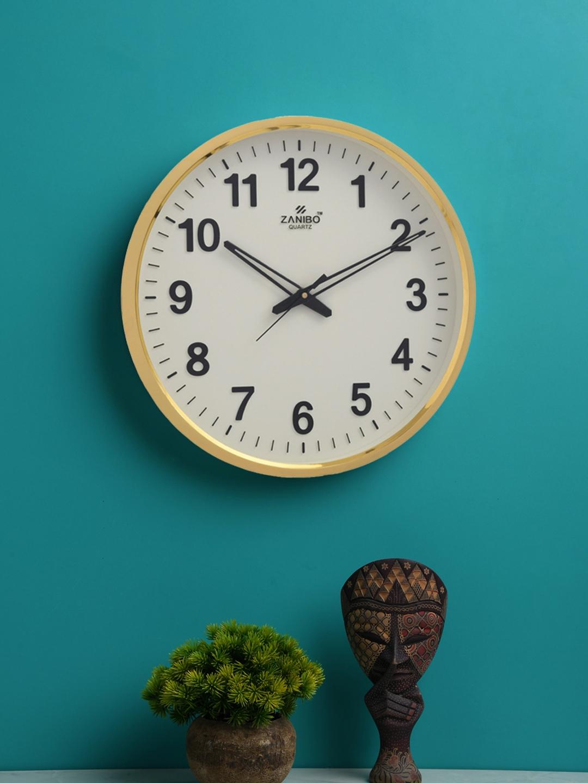 ZANIBO White   Gold Toned Round Solid 33 cmAnalogue Wall Clock