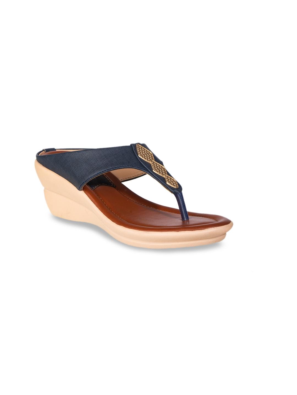Khadims Women Navy Blue Solid Wedge Heels