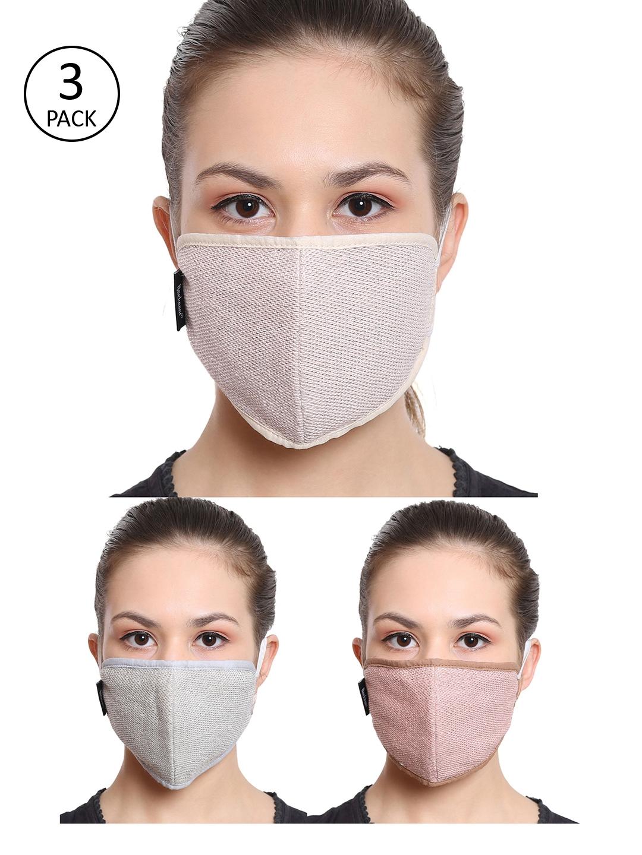 Anekaant Women 3 Pcs 3 Ply Reusable Cotton Printed Fabric Fashion Masks