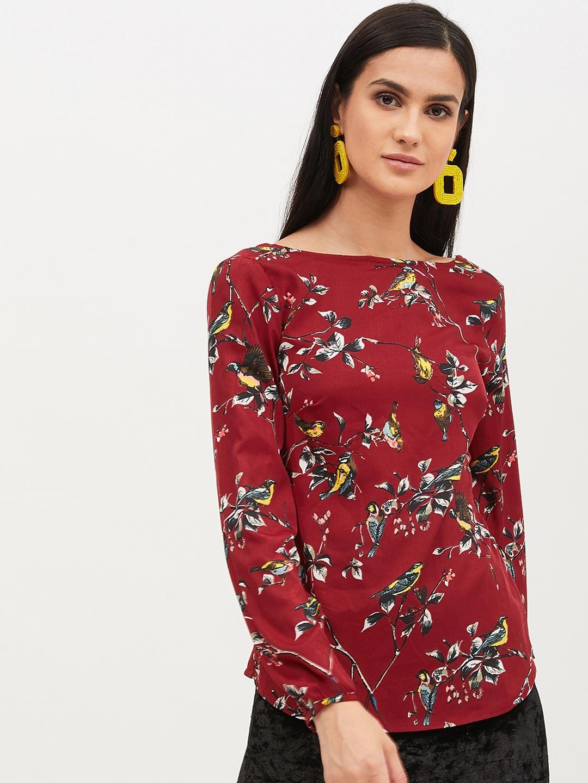 Harpa Women Maroon Floral Printed Top