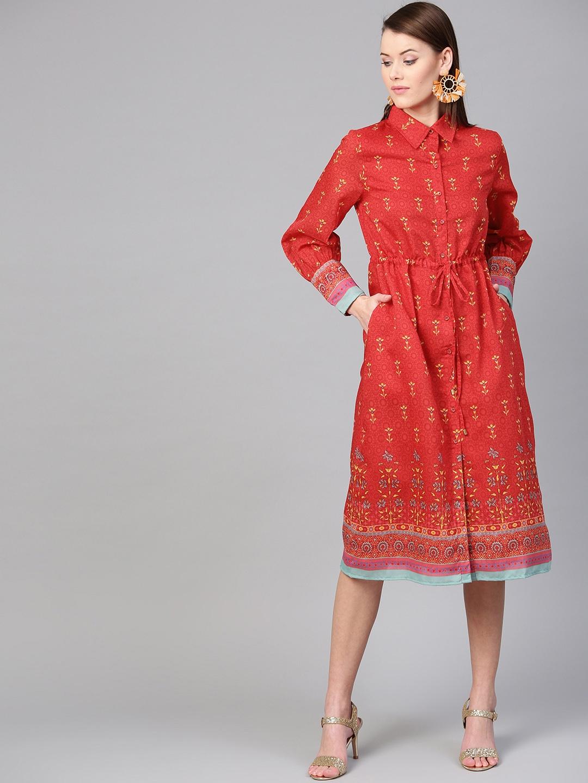 RARE Women Red Floral Printed Shirt Dress