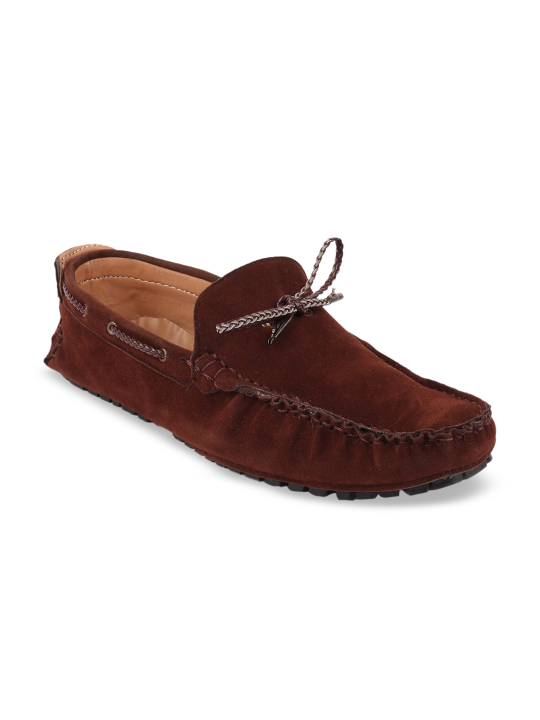 FAUSTO Men Brown Suede Leather Lightweight Boat Shoes