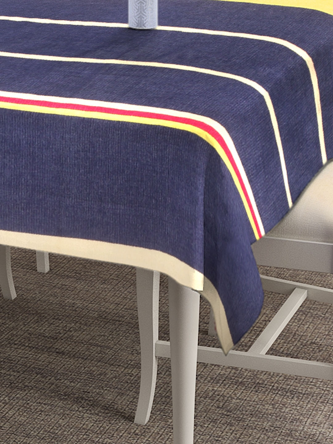 NEUDIS Blue   Red Striped 6 Seater Table Cover