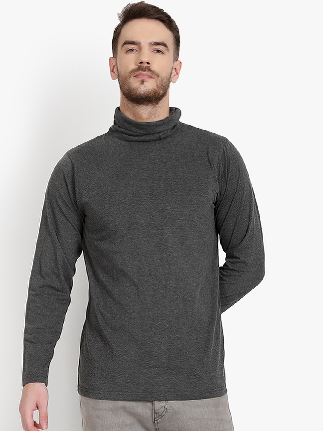 PAUSE SPORT Men Grey Solid Turtle Neck T shirt