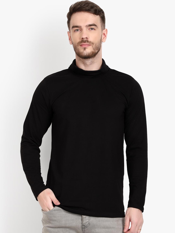 PAUSE SPORT Men Black Solid Turtle Neck T shirt