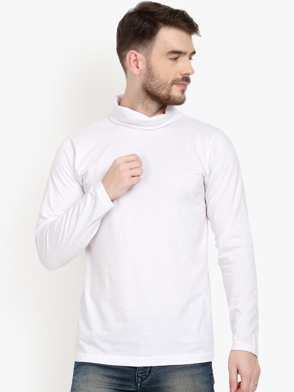 PAUSE SPORT Men White Solid Turtle Neck T shirt