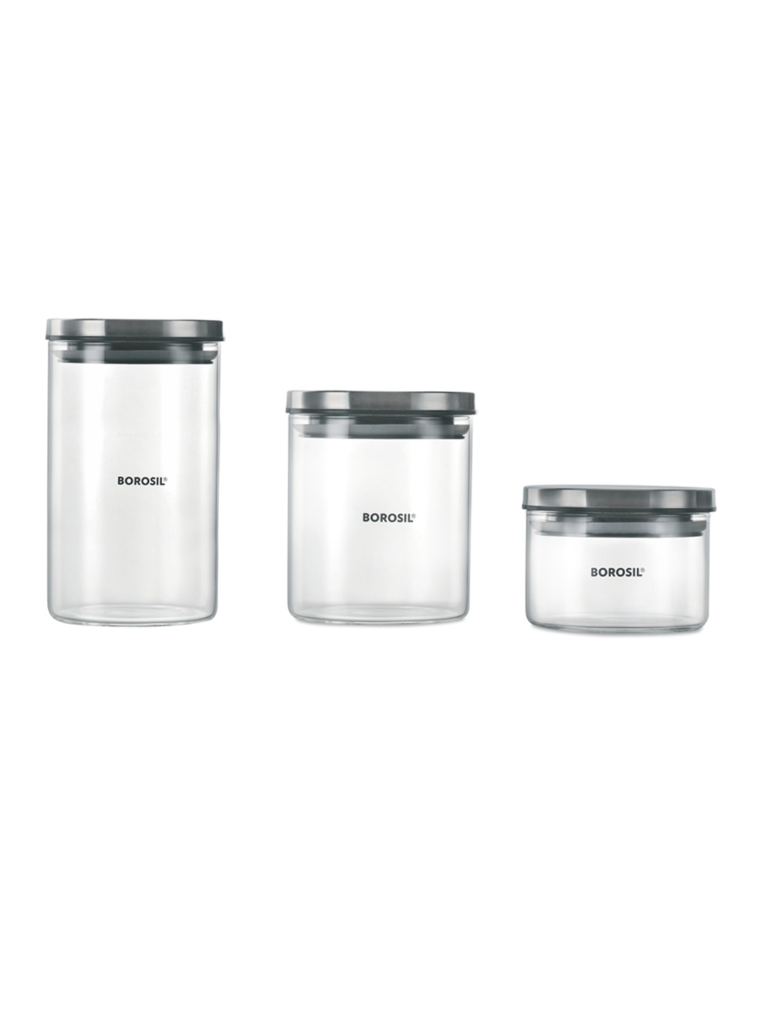 BOROSIL Transparent   Grey Set of 3 Borosilicate Glass Storage Jar Containers With Lid