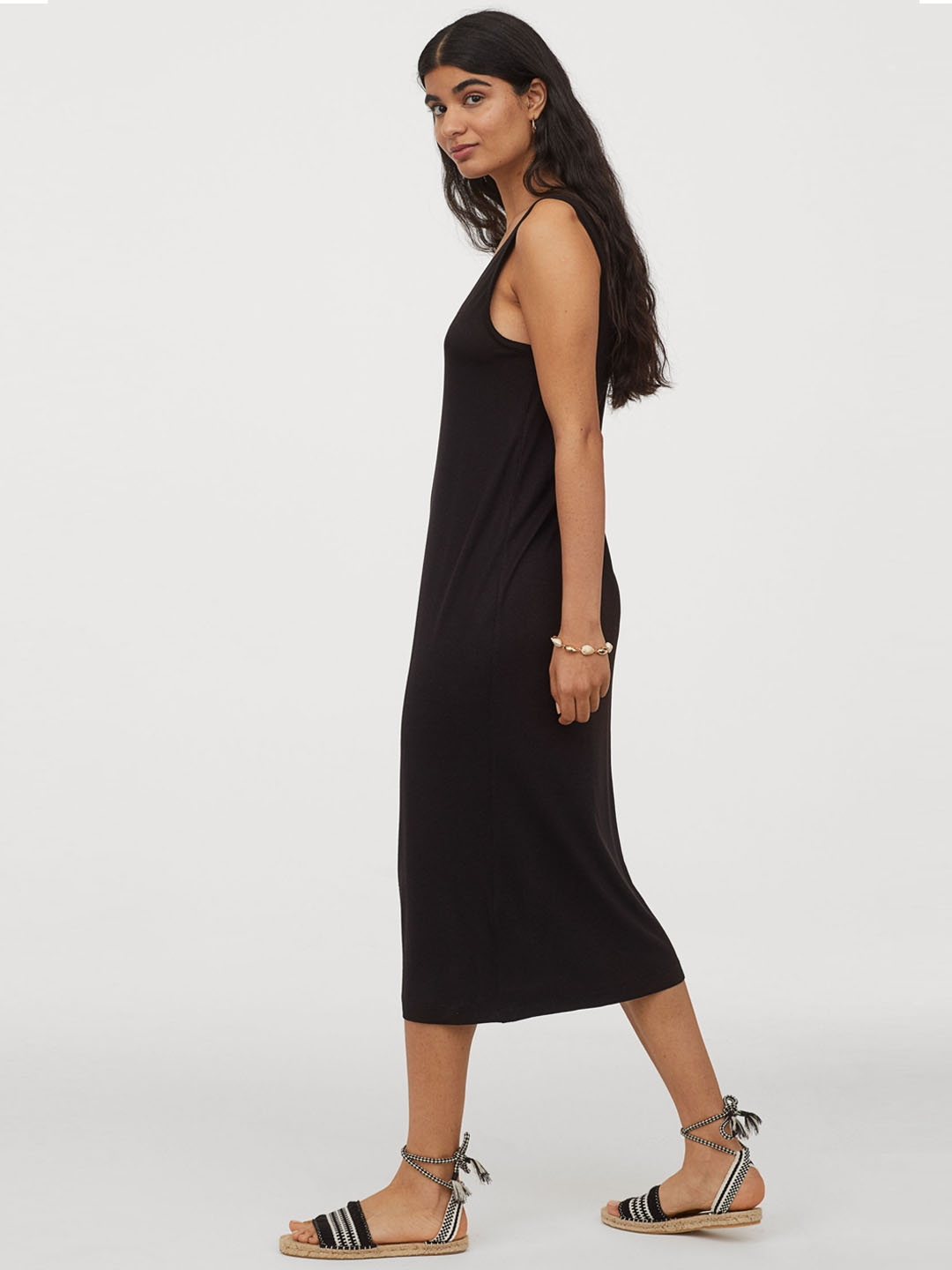 H M Black V neck jersey dress