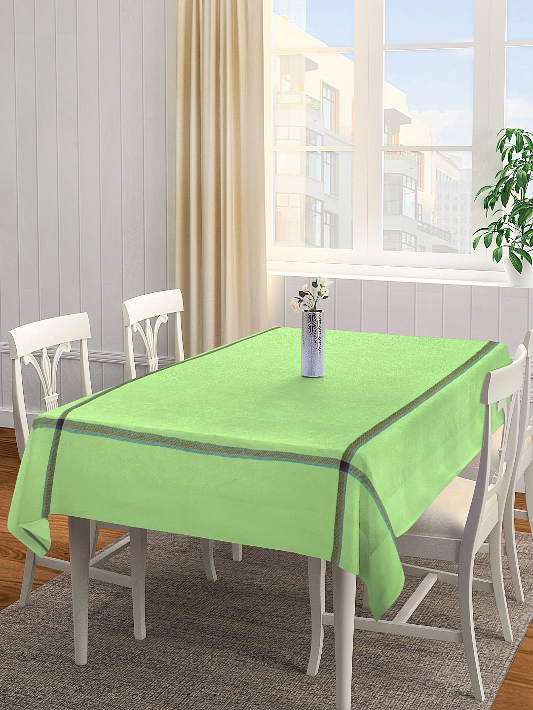 KLOTTHE Green Solid 4 Seater Square Table Cover