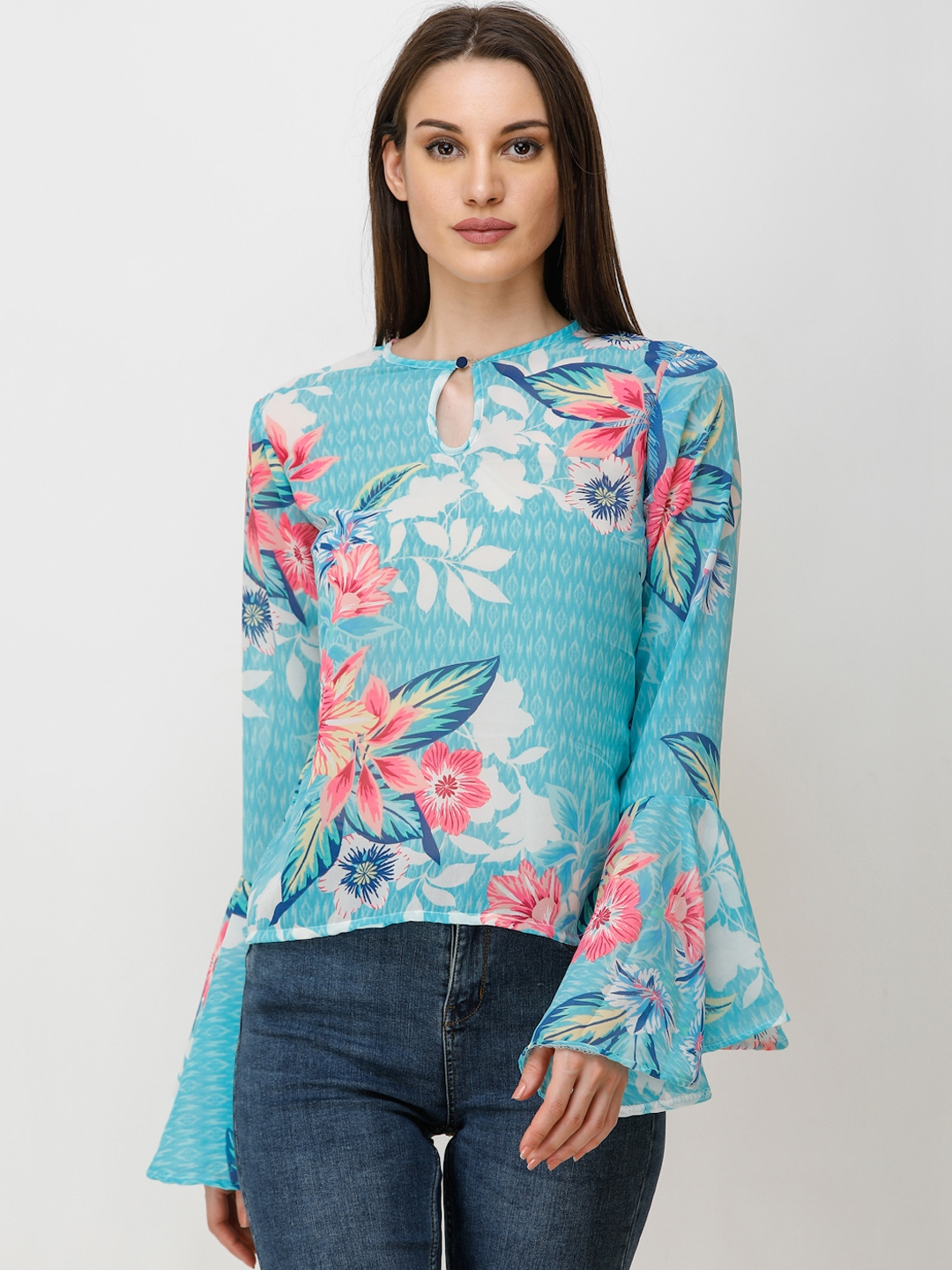 Cation Women Blue Printed Top