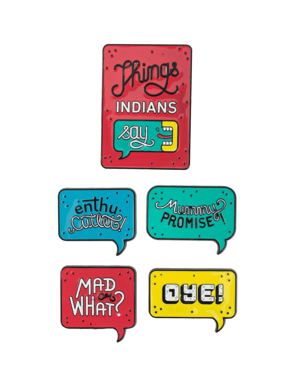 Chumbak Set Of 5 Red   Teal Green Things Indian Say Metal Fridge Magnets