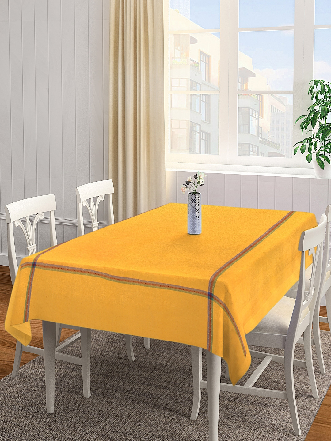 KLOTTHE Yellow Solid 4 Seater Square Table Cover