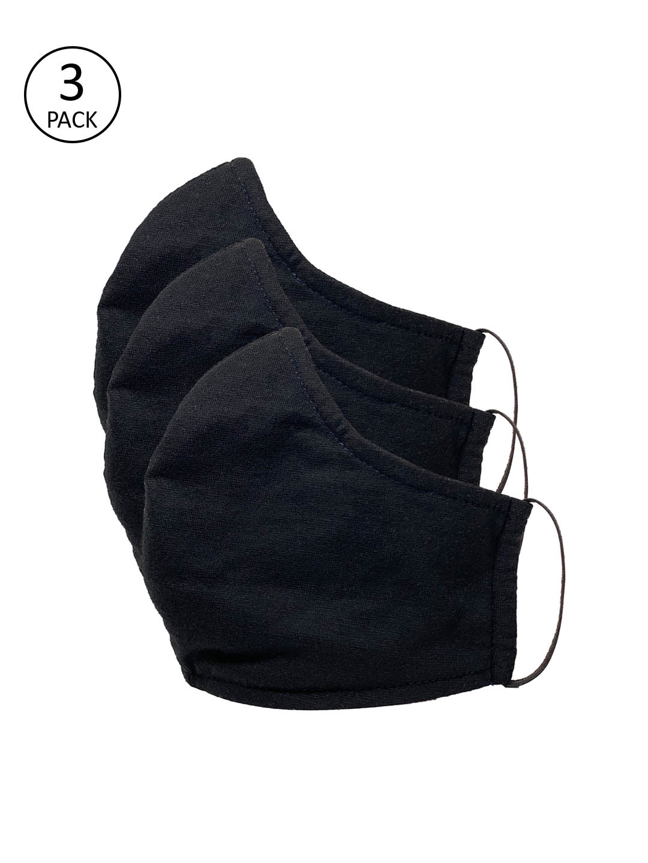 Sera Unisex 3 Pcs Black 3 Ply Reusable Cloth Masks