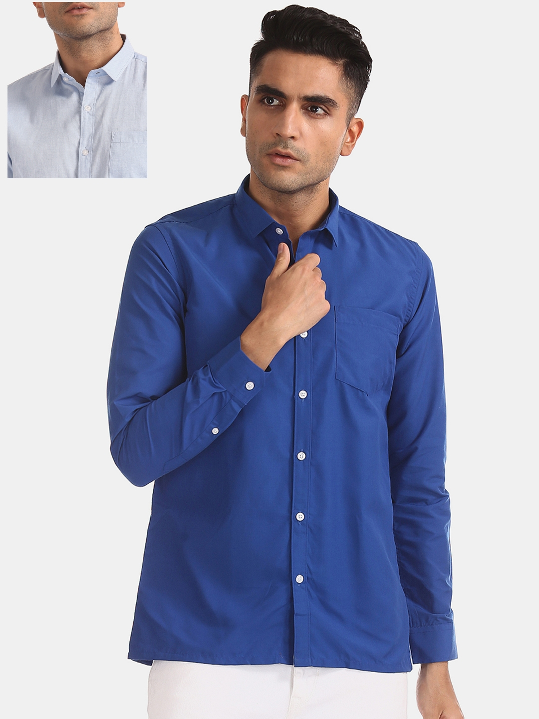 Excalibur Men Pack Of 2 Blue   White Checked Casual Shirts
