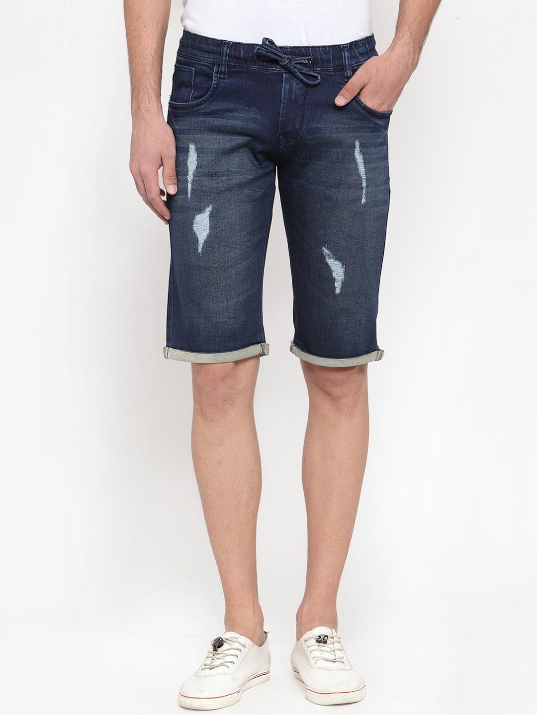 Rodamo Men Blue Solid Distressed Denim Shorts