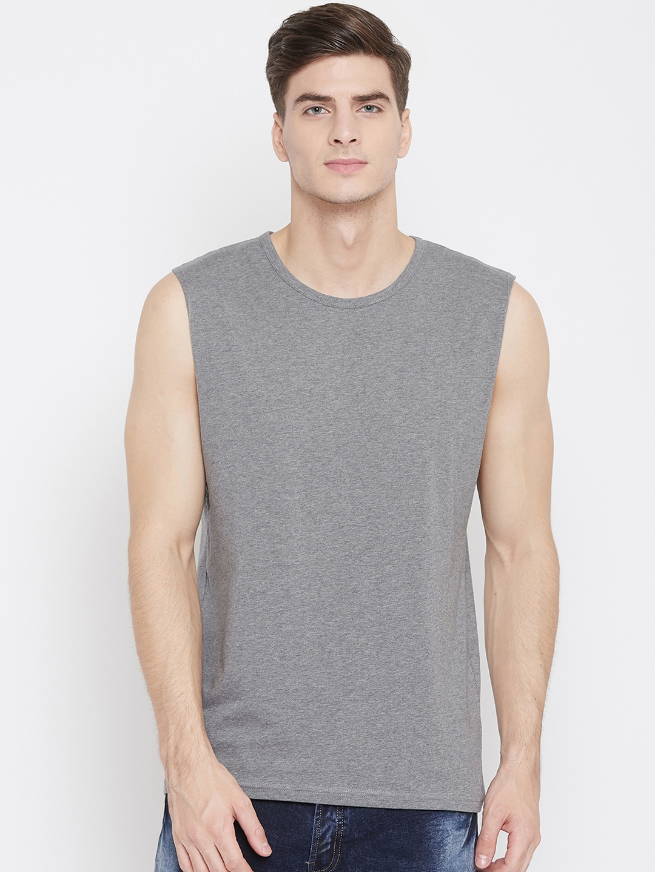 Hypernation Men Grey Solid Round Neck T shirt