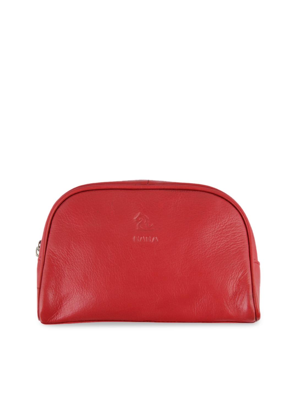 Kara Women Sasha Red Solid Travel Leather Toiletry Kit