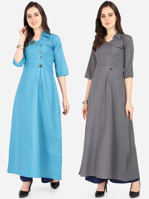 Silk Bazar Women Set of 2 Sky Blue   Grey Solid A Line Kurta