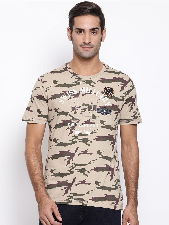 SWISS MILITARY Men Khaki   Brown Camouflage Printed Round Neck T shirt