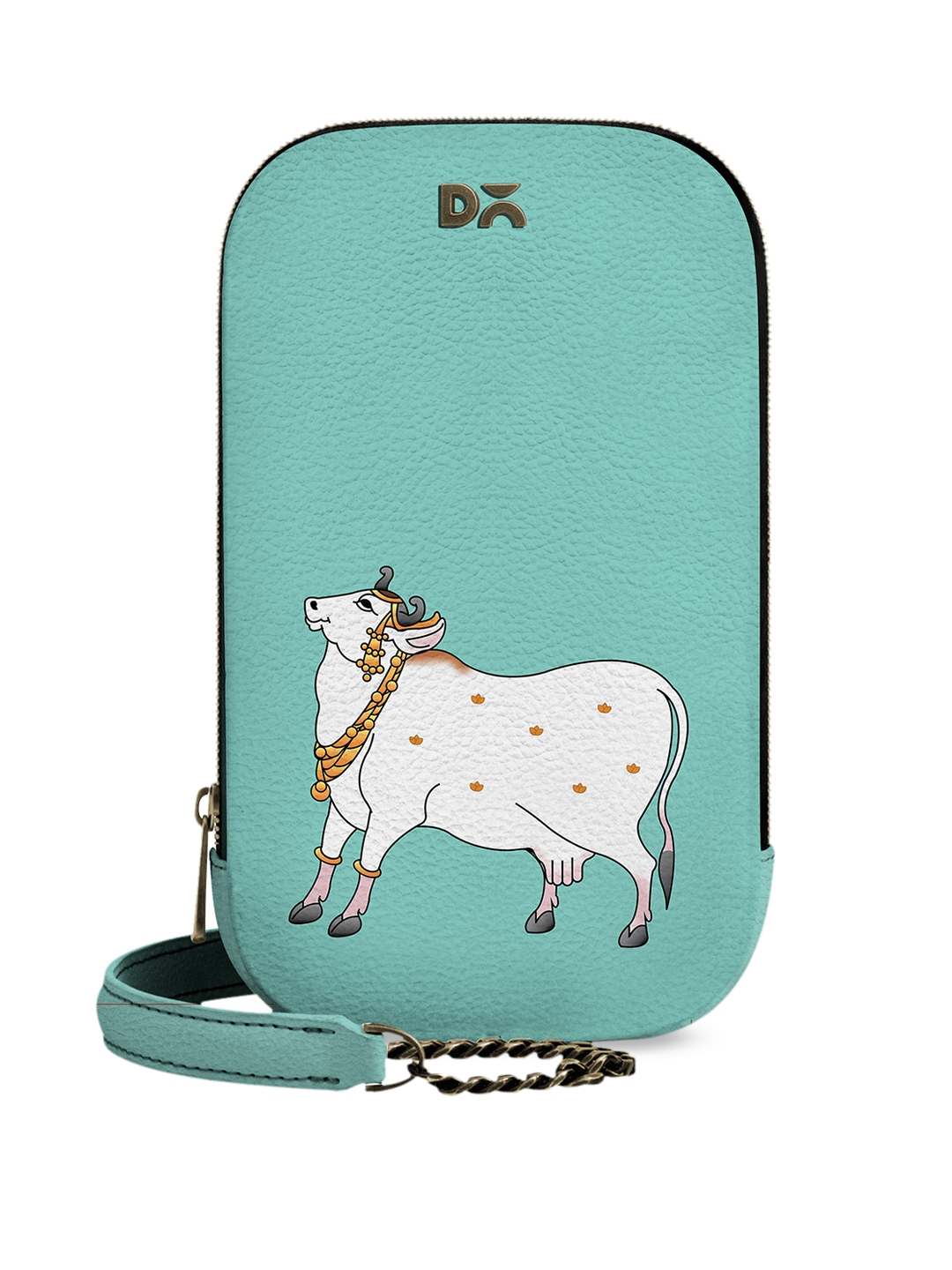 DailyObjects Turquoise Blue   White Dreamy Cow Printed Sling Bag
