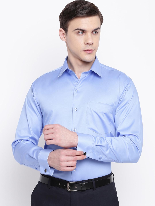 Hancock Men Blue Slim Fit Solid Formal Shirt