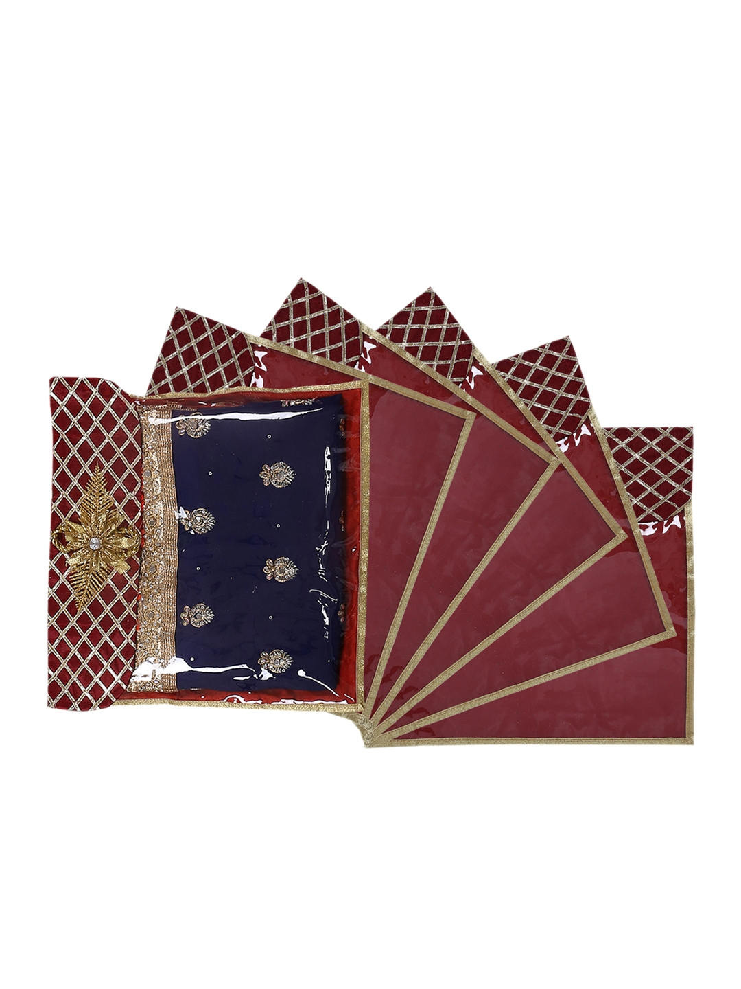 Kuber Industries Set Of 6 Maroon Solid Single Packing Saree Cover Organizer