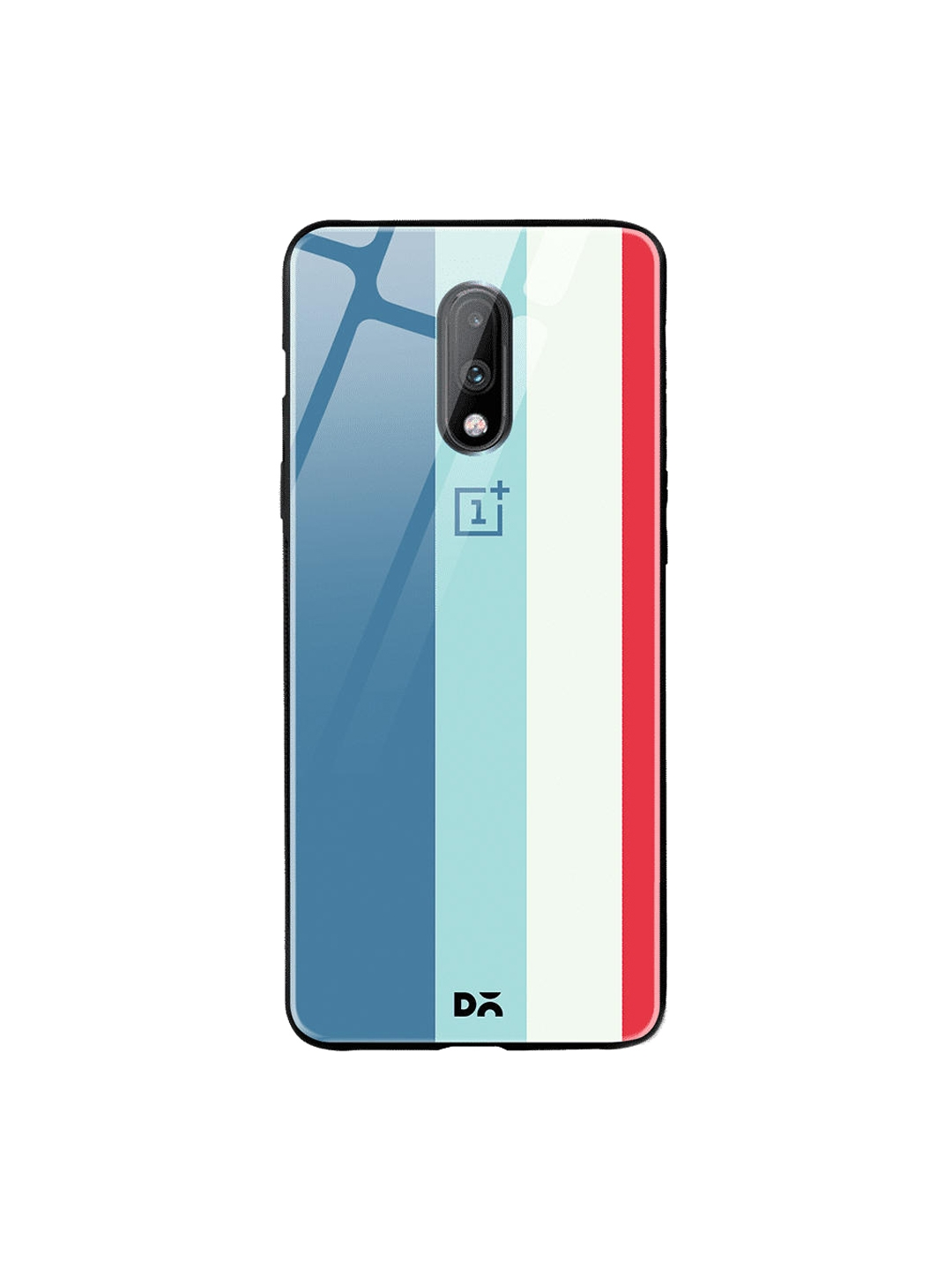DailyObjects Blue   White Vertical OnePlus 7 Glass Cover