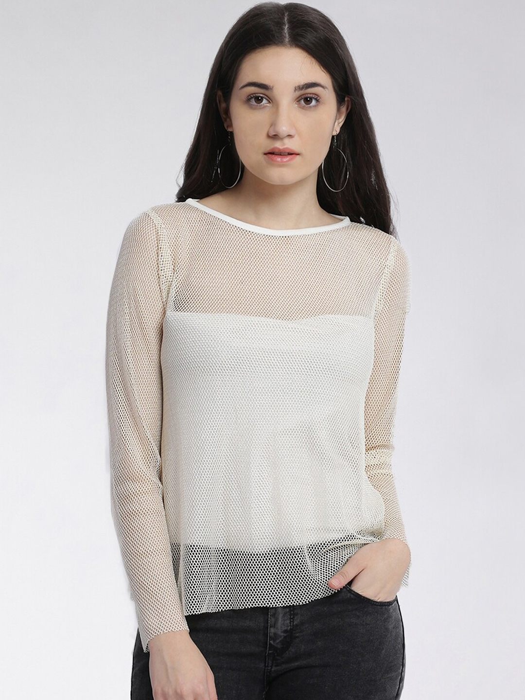 Miss Chase Women White Solid Mesh Top