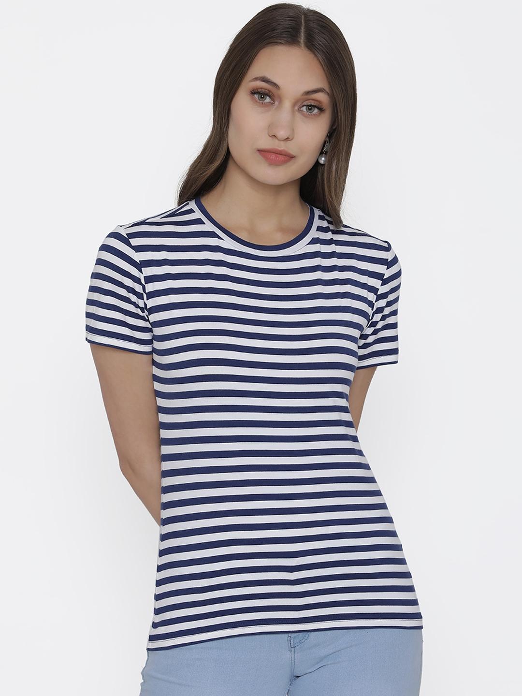 DOOR74 Women Dark Blue   White Striped Round Neck T shirt