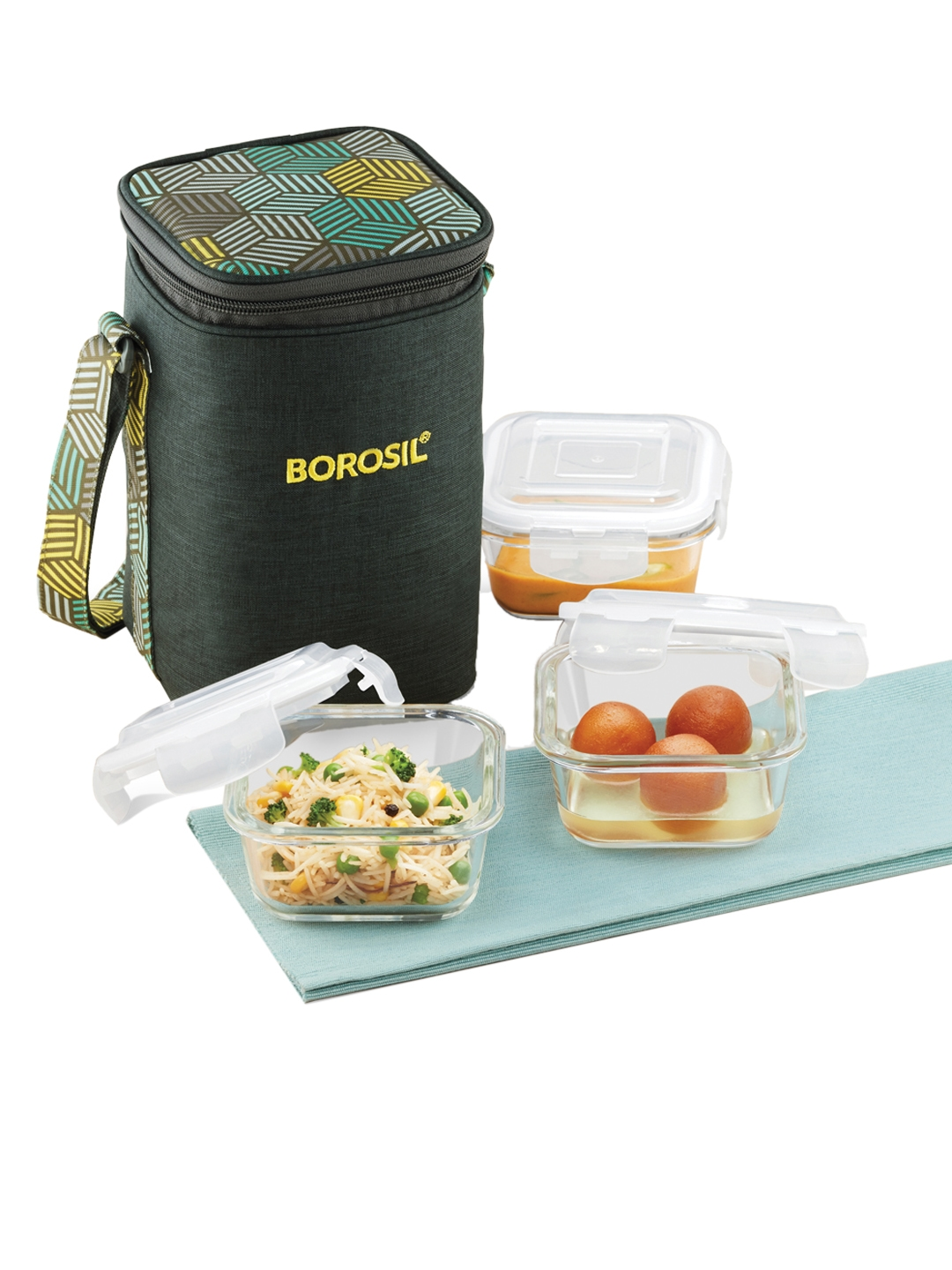 BOROSIL Olive Green   White Solid Foodluck Borosilicate Glass Microwavable 3 Square Containers Lunch Box With Bag