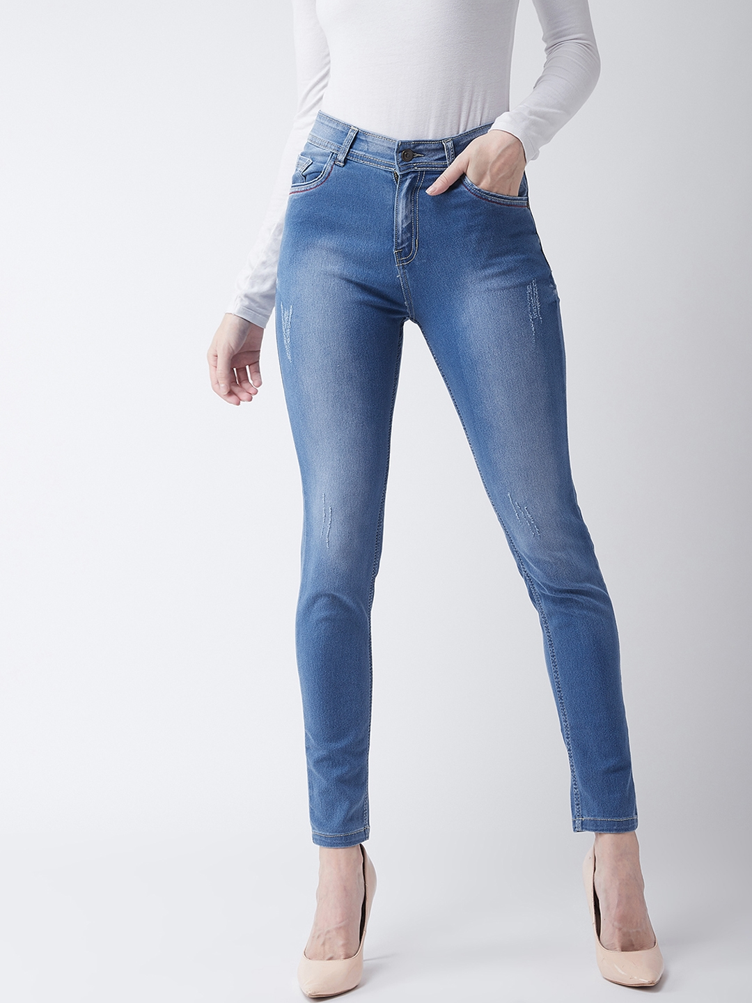 Miss Chase Women Blue Skinny Fit High Rise Clean Look Stretchable Jeans