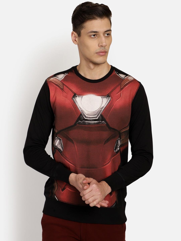 Free Authority Men Black   Red Iron Man Print Sweatshirt