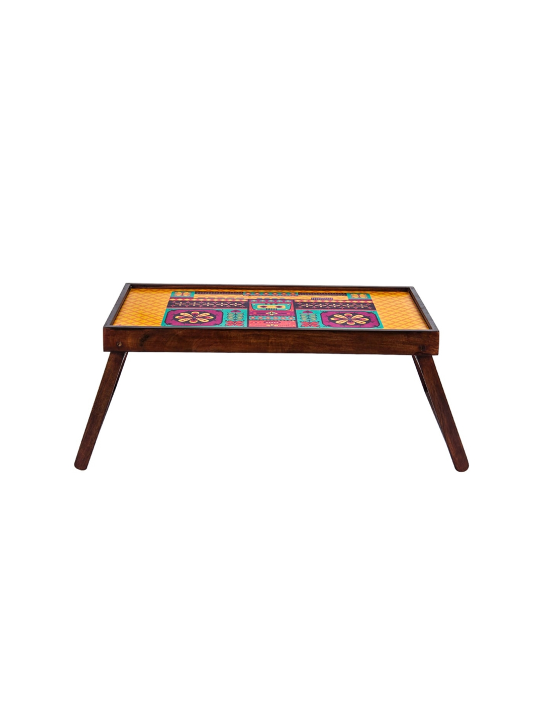 Chumbak Yellow   Red Printed Floral Boombox Foldable Breakfast Table Cum Tray